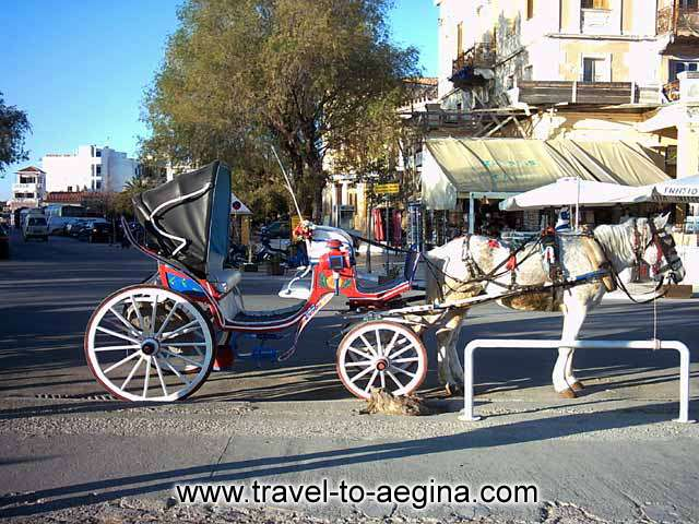 AEGINA PHOTO GALLERY - HORSE WAGON IN AEGINA TOWN